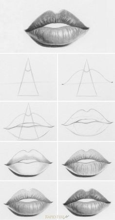 Tutorial: How to Draw Lips You can use this simple method to draw different types of lips by making just a few changes in step 1. http://rapidfireart.com/2013/05/10/how-to-draw-lips/