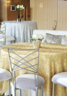 Shimmering golden linens with silver chairs ~ #mixing #metals #silver #decor #holiday #party #wedding #eventuresinc
