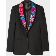 Paul Smith Women's Black Shawl Collar Blazer With 'Ocean' Embroidery ($1,140) ❤ liked on Polyvore featuring outerwear, jackets, blazers, black, blazer jacket, lightweight blazer, wool blazer, print jacket and paul smith