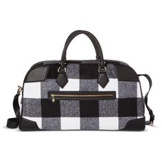 Adam Lippes for Target Weekender Patchwork Bag - Black & White Plaid ($35) ❤ liked on Polyvore featuring bags and luggage