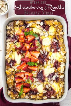 This Overnight Strawberry & Ricotta Breakfast Strata is easy enough for breakfast, brunch or dinner, yet elegant enough for Mother's Day entertaining.  Jam packed with buttery brioche bread, fluffy eggs, creamy ricotta and sweet strawberry preserves, this strata is sweet and savory breakfast perfection! This post is sponsored by Bonne Maman in partnership with Honest Cooking. …