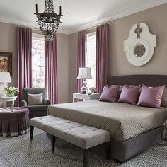 Bon Purple And Gray Bedroom With Mismatched Nighstands