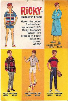1965 1966 1967 World of Barbie Fashions and Playthings by Mattel - Book 3 (Booklet) - Ricky (Skipper Friend) 1090 and Fashions Barbie Paper Dolls, Play Barbie, Barbie Skipper, Vintage Barbie Dolls, Barbie And Ken, Cute Freckles, Barbie Clothes, Barbie Stuff, Barbie Sisters