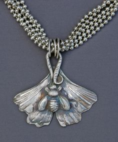 "Fine silver ""gingko leaf with bee"" pendant on sterling multi-chain necklace - Jewelry by Mirinda"