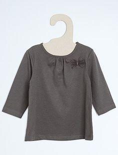 Tee-shirt coton noeud poitrine                                                                                                                                          gris Bébé fille  - Kiabi