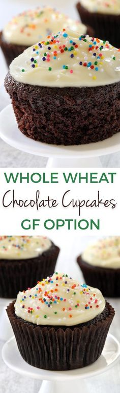 These 100% whole wheat chocolate cupcakes are so incredibly moist! They can also be made with all-purpose or gluten-free flour and are naturally dairy-free.
