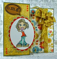** ** Featured Creation at Challenges! Girl Birthday Cards, Just Girl Things, Esty, Prismacolor, Copic, Holiday Crafts, Cardmaking, Craft Projects, Scrap