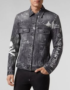 Denim Jacket Philipp Plein TM Denim Biker Jacket, Leather Jacket With Hood, Denim Jackets, Shirt Jacket, Denim Top, Denim Jeans, Tactical Clothing, Dog Clothing, Jaket Jeans