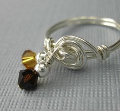 Dangle Ring Wire Wrapped Sterling Silver With Crystals - I want to make this