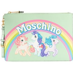 Moschino My Little Pony rainbow clutch ($425) ❤ liked on Polyvore featuring bags, handbags, clutches, green, white purse, real leather purses, genuine leather handbags, green clutches and white leather handbags