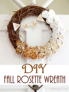 35 Fabulous Fall Wreaths - love the burlap bunting, not a fan of the fabric roses...
