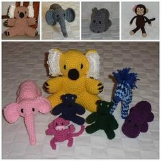 More of our adorable crocheted stuffed animals! We can make the animals in any color just how you want them! :) All of the different colored animals in the bottom photo were Christmas presents for children in one family. How fun!!! by adorycrafts
