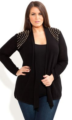 City Chic - STUD SHOULDER CARDI - Women's plus size fashion
