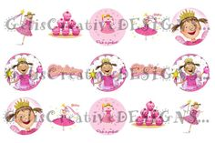 Pinkalicious borderless digital image sheet for bottlecap