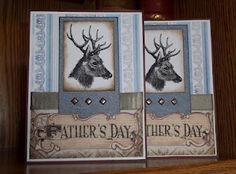 Stunning Father's Day card - created with a deer head digital stamp.