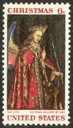 Angel Gabriel US Christmas Stamp 1968 Weihnachtsengel Weihnachtskunst Vintage Weihnachten