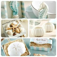 beach chic wedding and party table gits - guest favors, souvenirs