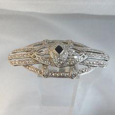 Vintage Marcasite Brooch.  Art Deco Style. Faux Marcasite. Faux Onyx.. $21.99, via Etsy.