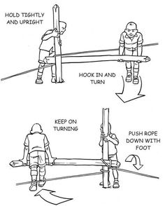 Make a winch from a pole . also called a 'Spanish Windless' Bushcraft Skills, Bushcraft Camping, Diy Camping, Camping Survival, Outdoor Survival, Camping Ideas, Survival Life Hacks, Survival Tools, Survival Prepping