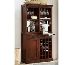 In the tradition of fine cabinetry, the Modular Bar Collection is finely crafted to be your entertaining centerpiece. This Bar Buffet provides spacious cabinets and two wine grids to organize, store and display glassware, accessories and your favo… Bar Furniture For Sale, New Furniture, Kitchen Furniture, Furniture Ideas, Classic Furniture, Furniture Makeover, Bar Hutch, Armoire Bar, Mahogany Stain