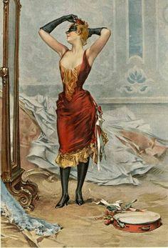 Frederik Hendrik Kaemmerer (Dutch artist, 1839-1902)  Women in a masquerade costume looking in a mirror