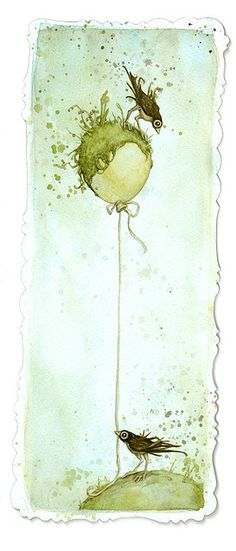 Watercolour birds with their watercolour balloon - which is apparently growing grass? Little Green Patch by leontine on Flickr.