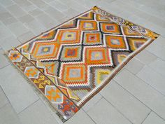 Turkish Classic Antalya Kilim x Hand Woven Wool Rug x 7 And 7, 5 S, Rugs On Carpet, Carpets, Turkish Kilim Rugs, Antalya, Wool Rug, Hand Weaving, Blanket