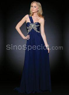 Royal Blue A-line One-shoulder Empire Waistline Sweep Train Chiffon Evening Dress