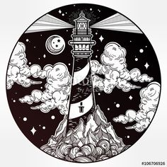 Vector: Decorative vector lighthouse illustration.
