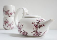 Hand Painted Ceramic Tea Set   Cherry Blossoms by yevgenia