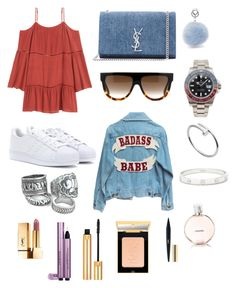 """Kind of Holiday..."" by inesdeaguiar on Polyvore featuring Yves Saint Laurent, adidas, CÉLINE, Rolex, Cartier and Chanel"