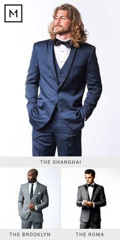 Groom style trends 2015: Blue tuxedos, grey tuxedos and grey suits.