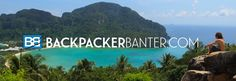 Backpacker Banter logo. Packed everything in 25l backpack