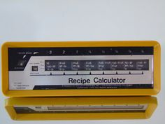 Recipe Calculator Vintage 1970s Kitchen Gadget Measurement Converter Serving Modifier  Grandmas Kitchen Gadget Recipe Calculator, Measurements Converter Retro , Gourmet Chef , Serving Modifier 1972 Wille Enterprises Colorado Springs , Colorado 70's Period Design , Easy Dial Rotation with Side Knobs Weather you are cooking for 2 or 10 the three-column table converts quantities for an easy recipe adjustment Manufactured by Proto Production Plastics, Boulder Colorado