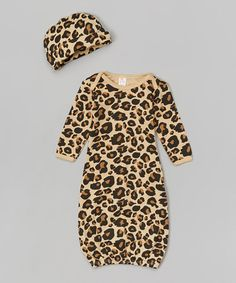 Another great find on #zulily! Leopard Gown & Beanie - Infant by The Laughing Giraffe #zulilyfinds