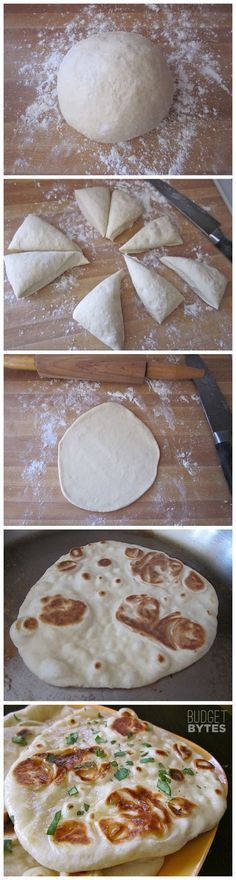 Homemade Naan (Famous Indian Flatbread) with a link to step by step Easy Recipe/photos by recipebest #Naan #Flatbread