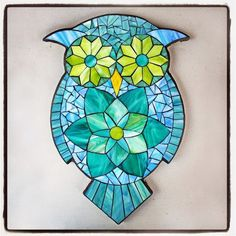 Stained Glass Mosaic Owl by Kasia Polkowska   Create your own mosaic owl in one of Kasia's workshops on the 2015 Kaisa Mosaics US Tour http://kasiamosaicsustour.blogspot.com/  Some of the locations for the Owl Class include: New Jersey, New York, Maine, Washington State, California and Indiana.  Email: kpolkowska@gmail.com with questions.