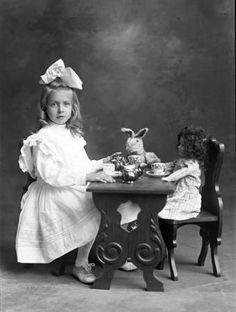 Dorothy Rich :: Butler County Gallery 1910-10-08 Nebraska 4x6 glass plate negative photo of girl serving tea to her doll and bunny.