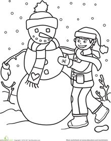 A Boy Making Snowman Coloring Pages To Print