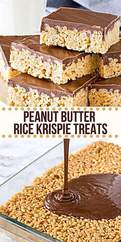 Peanut Butter Rice Krispie Treats are gooey. Peanut Butter Rice Krispie Treats are gooey chewy and perfect twist on the classic Rice Krispies. Made with marshmallows peanut butter and a thick layer of chocolate on top! Chocolate Peanut Butter Squares, Apple And Peanut Butter, Baking Chocolate, Chocolate Chips, Chocolate Frosting, Chocolate Fudge, Homemade Chocolate, Mint Chocolate, Marshmallow Peanut Butter Squares