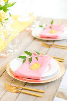 Citrus Inspired Wedding Color Palette | ElegantWedding.ca Table Setting Inspiration, Wedding Inspiration, Head Tables, Wedding Place Settings, Wedding Receptions, Wedding Centerpieces, Wedding Colors, Table Decorations, Color Scheme Wedding
