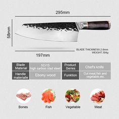 Meat Fruit, Butcher Knife, Chef Knives, Knife Handles, Kitchen Knives, Stainless Steel, Fish, Vegetables, Handmade