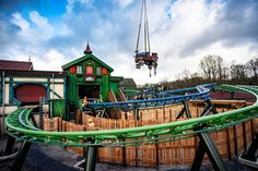 Efteling's family-friendly roller coaster Max & Moritz is nearing completion, with the first of two trains arriving at the theme park in the Netherlands. Amusement Park, Fair Grounds, Entertaining, House Styles, Roller Coasters, Travel, Spring, Seeds, Viajes