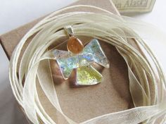Fused Glass Jewelry  Pink Yellow Blue Green Tiny by mmartiniuk, $21.00
