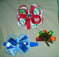 Different bows Red $4.00 Blue $3.00 Fall colors $2.00