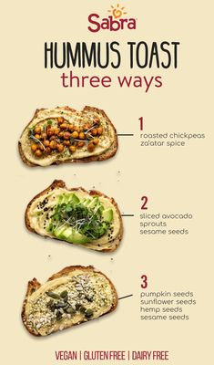 for 4 - 1 Avocado 1 Chickpeas, roasted store-bought or homemade 1 Sprouts 1 Hummus 1 Black sesame seeds 1 Sesame seeds 1 Za'atar spice 1 Hemp seeds 1 Pumpkin seeds 1 Sunflower seeds 1 Kamut bread or seeded bread, Whole-grain Healthy Desayunos, Healthy Diet Recipes, Healthy Meal Prep, Vegetarian Recipes, Healthy Eating, Cooking Recipes, Cooking Tips, Cooking Beef, Healthy Food List