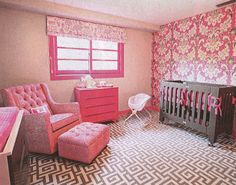 Hattie McDermott's nursery...  Love the  patterns with pink and gray