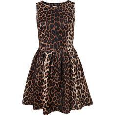 TOPSHOP Animal Skater Dress ($40) ❤ liked on Polyvore