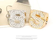 Korean luxury fashion exquisite S shape decorated with CZ diamond charm design rings Pomposity,atmosphere,exaited,Precious  wholesale fashion jewelryFashion Rings