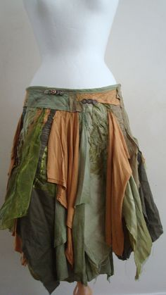 Upcycled Skirt Womans Clothing Green Brown Tribal Cotton Linien Organza Layers Mori Girl via Etsy
